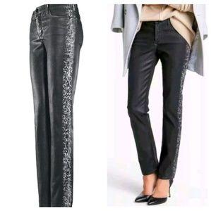NYDJ Dark Taupe Coated Sheri Skinny Jeans